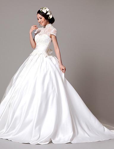 37e027ccf0 Vestido de Boda - Blanco Corte Princesa Barrida - Cuello Alto Encaje Satén  Elástico