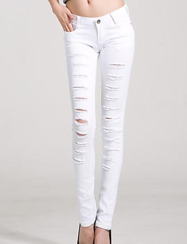 Kadın's Normal Bel Mikro-Esnek Dar Kesim Kotlar Pantolon, Polyester Solid Yaz