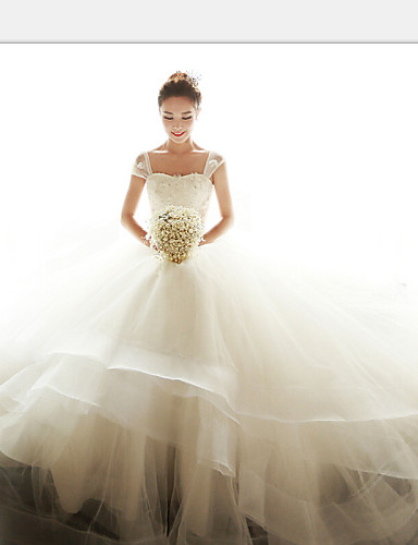 Suknia balowa off-the-ramię długa podłoga organza suknia ślubna z brokatem appliques sash / wstążka