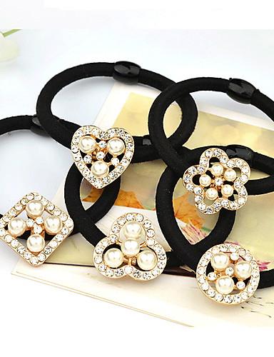 Damen Niedlich Party Büro, Künstliche Perle Stoff Aleación Haargummi Solide
