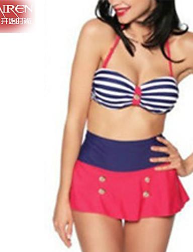 Muairen® Women's Fine Stripe The  High-WaiSted Navy Striped SwimSuit Sexy Bikini SwimSuit