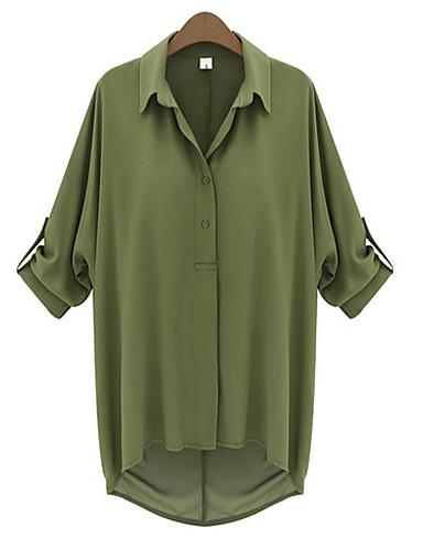 여성의 솔리드 셔츠 카라 ½ 길이 소매 블라우스,심플 캐쥬얼/데일리 블랙 / 그린 여름 중간