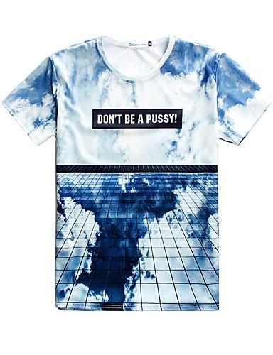 Strand/Informell/Bedruckt/Niedlich/Party/Business Rund - Kurzarm - MEN - T-Shirts ( Baumwoll Mischung )