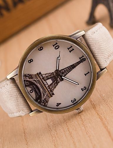 Mulheres Relógio de Moda Relógio Casual Quartzo Couro Banda Torre Eiffel Preta Branco Azul Vermelho Marrom Verde Rosa Amarelo