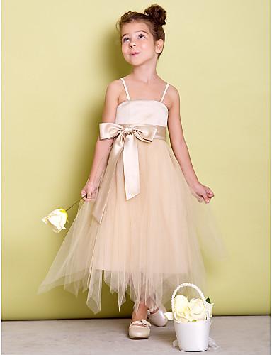 A-line rochie asimetrică pentru fete de flori - curele de tul spaghete cu panglică de lan ting bride®