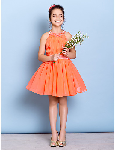 A-Linie Schmuck Knie-Länge Chiffon Junior-Brautjungferkleid mit Perlenstickerei / Drapiert / Schärpe / Band durch LAN TING BRIDE®