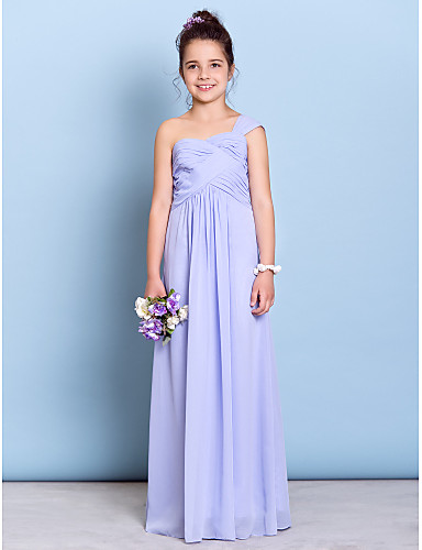 Sheath / Column One Shoulder Floor Length Chiffon Junior Bridesmaid Dress with Criss Cross by LAN TING BRIDE®