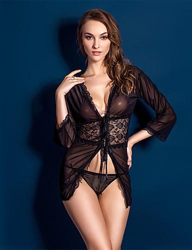 Dantelli İç Giyim Ultra Seksi Takımlar Yatak kıyafeti Solid Polyester Dantelalar Kadın's Siyah