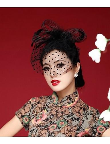 abordables Coiffes Femme-Femme Kentucky Derby Rétro Vintage Soirée Couleur Pleine / Bonnet / Crochet / Mousseline de soie / Noir / Chapeau & Bonnet