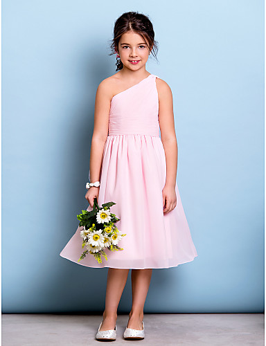 b1f9ceccee134 A-Line One Shoulder Knee Length Chiffon Junior Bridesmaid Dress with  Draping / Side Draping / Ruched by LAN TING BRIDE® / Natural
