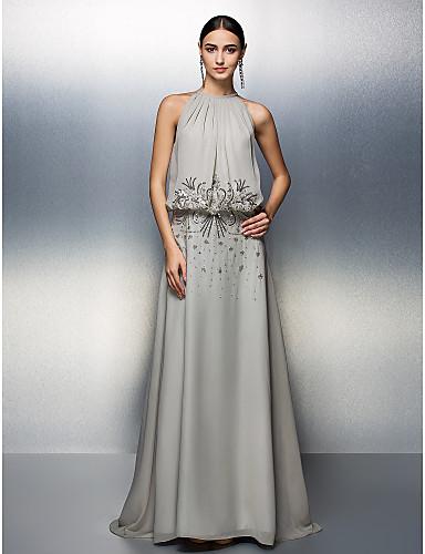 A-Linie Schmuck Boden-Länge Chiffon Abiball / Formeller Abend Kleid mit Perlenstickerei / Gerafft durch TS Couture®