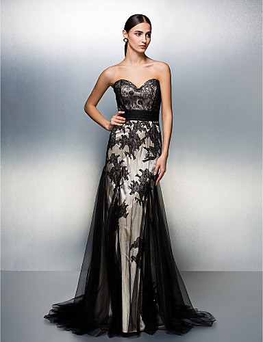 cheap Prom Dresses-A-Line Sweetheart Neckline Sweep / Brush Train Lace Over Tulle Color Block Prom / Formal Evening Dress with Ruched by TS Couture®