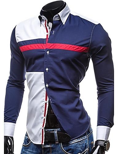 Herren Hemd-Einfarbig Freizeit Baumwolle / Polyester Lang Blau / Weiß