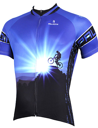 cheap Cycling Clothing-ILPALADINO Men's Short Sleeve Cycling Jersey - Blue Bike Jersey Top Breathable Quick Dry Ultraviolet Resistant Sports Polyester 100% Polyester Terylene Mountain Bike MTB Road Bike Cycling Clothing