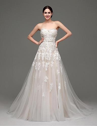 A-Şekilli Kalp Yaka Süpürge / Fırça Kuyruk Saten Tül Düğün elbisesi ile Aplik tarafından Shiqiushi