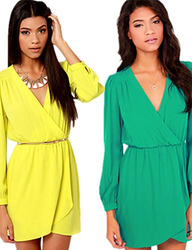 여성 - 캐쥬얼/회사 바자형 것 긴소매 - 드레스 ( 폴리에스터 )