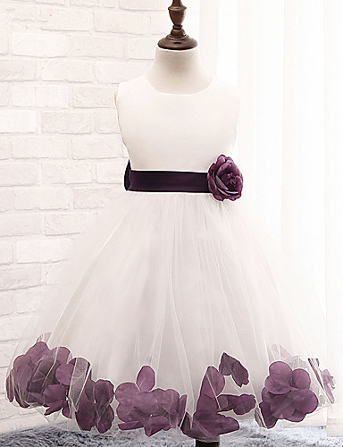 A-Line Knee Length Flower Girl Dress - Cotton / Polyester / Lace Sleeveless Jewel Neck with Sash / Ribbon / Flower / Pleats by