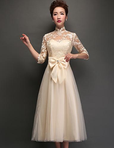 Τσάι φόρεμα φόρεμα παράνυμφων φόρεμα φόρεμα με τσάι - λαιμό υψηλό λαιμό με δαντέλα εφαρμογών