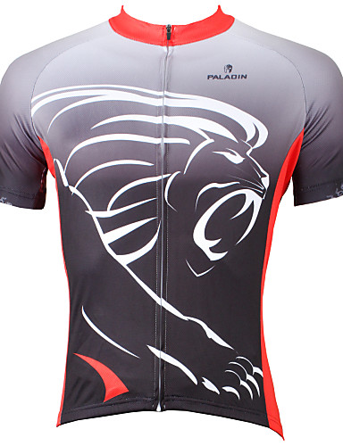 cheap Cycling Clothing-ILPALADINO Men's Short Sleeve Cycling Jersey - Grey Animal Lion Bike Jersey Top Breathable Quick Dry Ultraviolet Resistant Sports Polyester 100% Polyester Terylene Mountain Bike MTB Road Bike Cycling