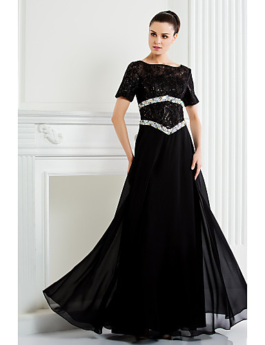 A-linje Scoop Neck Gulvlang Chiffon Blonder Kjole til brudens mor med Perlearbeid av LAN TING BRIDE®