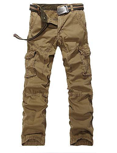 Homens Casual Cintura Média Sem Elasticidade Reto Calças Esportivas Calças de carga Calças,Algodão Todas as Estações Sólido Estampado