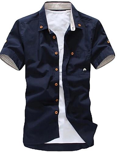 Men's Plus Size Cotton Slim Shirt - Solid Colored Print Button Down Collar / Short Sleeve