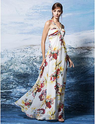 Ołówkowa / Kolumnowa Halter Sięgająca podłoża Szyfon Kolacja oficjalna Sukienka z Wzorek / Nadruk przez TS Couture®