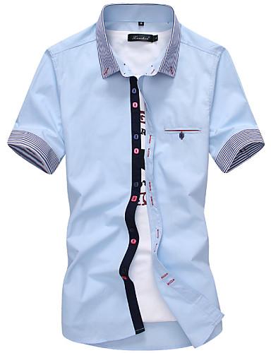 Homens Camisa Social O negócio Casual Casual Sólido Poliéster Colarinho de Camisa Manga Curta