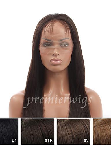 billige Blondeparykker med menneskehår-Ekte hår Helblonde Blonde Forside Parykk stil Rett Parykk 130% Hair Tetthet Naturlig hårlinje Afroamerikansk parykk 100 % håndknyttet Dame Medium Lengde Lang Blondeparykker med menneskehår Premierwigs
