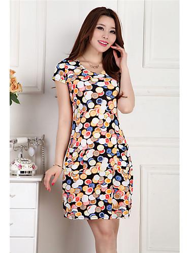 Γυναικεία Μεγάλα Μεγέθη Φόρεμα Λουλούδι / Με Βολάν / Σουρωτά Ως το Γόνατο