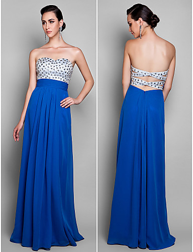Sheath / Column Sweetheart Floor Length Chiffon Prom Formal Evening Military Ball Dress with Beading Ruching by TS Couture®