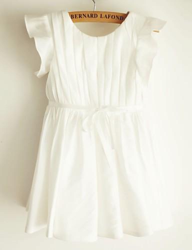 Γραμμή Α Μέχρι το γόνατο Φόρεμα για Κοριτσάκι Λουλουδιών - Ταφτάς Κοντομάνικο Scoop Neck με Ζώνη / Κορδέλα με LAN TING BRIDE®