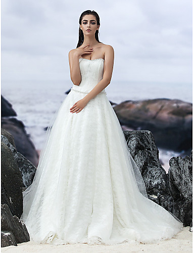 A-Line Strapless Court Train Lace Tulle Wedding Dress with by LAN TING BRIDE®