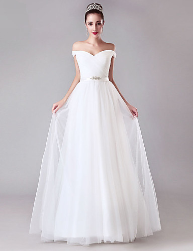 A-Line Off Shoulder Floor Length Tulle Wedding Dress with Crystal Detailing Sash / Ribbon Criss-Cross by LAN TING BRIDE®