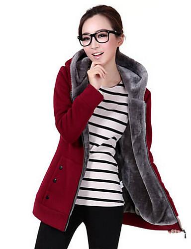 Жен. Однотонный На каждый день толстовка с капюшоном куртки Обычный, Повседневные Длинный рукав Капюшон Зима