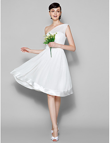 A-Line One Shoulder Knee Length Georgette Bridesmaid Dress with Sash / Ribbon by LAN TING BRIDE®