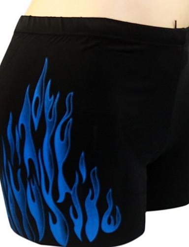 Męskie Dół od bikini Stroje kąpielowe Kwiatowy Blok kolorów Nadruk Poliester Czerwony Niebieski