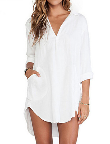 Women's Casual Shirt - Solid Colored V Neck Shirt Collar