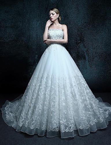 А-силуэт Свадебное платье С длинным шлейфом Без бретелей Тюль с
