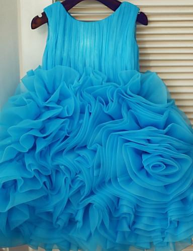 Księżniczka Do kolan Sukienka dla dziewczynki z kwiatami - Organza Bez rękawów z Fałdki Kwiaty przez LAN TING BRIDE®