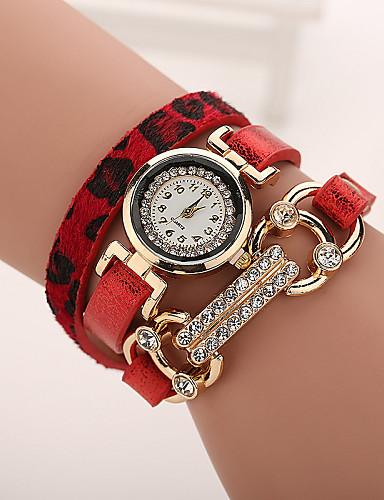 Mulheres Relógio de Moda Bracele Relógio Relógio Casual imitação de diamante Quartzo Couro Banda LeopardoPreta Branco Azul Vermelho