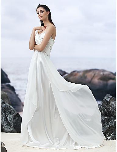 A-Şekilli Kalp Yaka Uzun Kuyruk Jorget Boncuklama / Aplik / Haç ile Kıyafetli Gelinlikler tarafından LAN TING BRIDE®