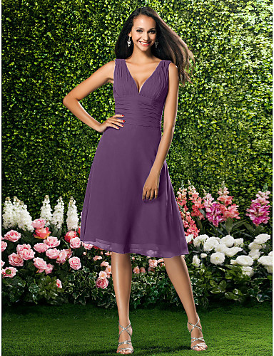 Γραμμή Α Λαιμόκοψη V Μέχρι το γόνατο Σιφόν Φόρεμα Παρανύμφων με Που καλύπτει / Πιασίματα με LAN TING BRIDE®