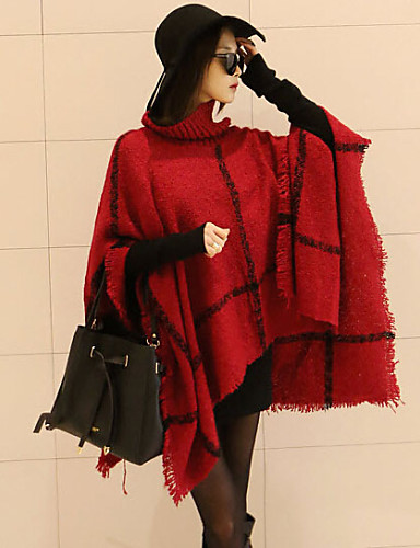 Women's Going out Basic Oversized Cloak / Capes - Plaid, Tassel / Spring / Fall