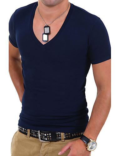 2d1c1e85f877c Men s Sports   Work Plus Size Cotton Slim T-shirt - Solid Colored V Neck   Short  Sleeve