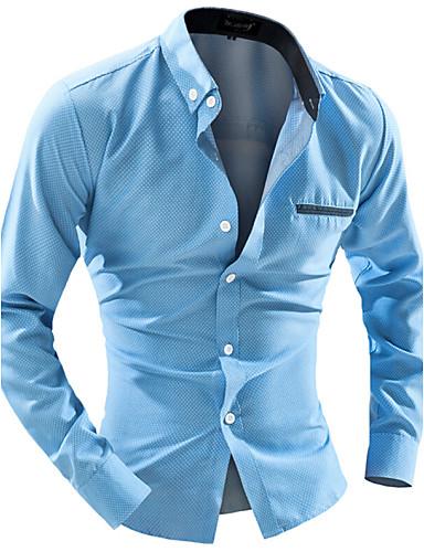 voordelige Herenoverhemden-Heren Zakelijk Overhemd Werk Effen Buttondown boord Slank Wit / Lange mouw
