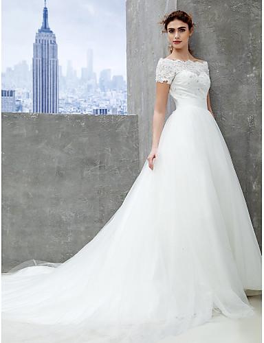 Krój A Tren katedralny Koronka Tiul Suknia ślubna z Koronka przez LAN TING BRIDE®