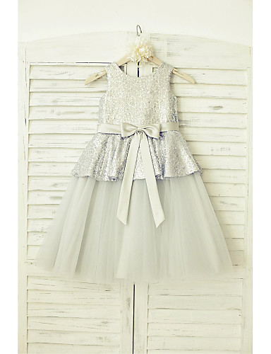 A-Line Knee Length Flower Girl Dress - Tulle Sequined Sleeveless Scoop Neck with Sequin Bow(s) Sash / Ribbon by LAN TING Express