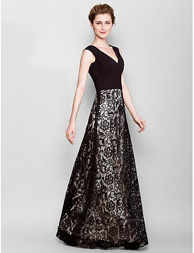 Szűk szabású V-alakú Földig érő Csipke Zsorzsett Örömanya ruha val vel Cakkos által LAN TING BRIDE®