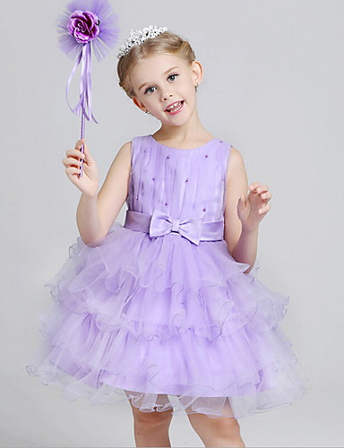 A-Line Knee Length Flower Girl Dress - Cotton / Polyester / Tulle Sleeveless Jewel Neck with Bow(s) / Sash / Ribbon / Pleats by